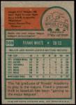 1975 Topps #569  Frank White  Back Thumbnail