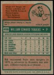 1975 Topps #488  Bill Travers  Back Thumbnail