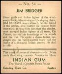 1933 Goudey Indian Gum #54  Jim Bridger   Back Thumbnail