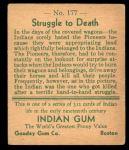 1933 Goudey Indian Gum #177   Struggle to Death  Back Thumbnail