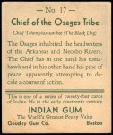 1933 Goudey Indian Gum #17   Chief of the Osages Tribe  Back Thumbnail