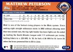 2003 Topps Traded #254 T  -  Matthew Peterson First Year Back Thumbnail