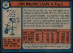 1974 Topps #38  Jim McMillian  Back Thumbnail