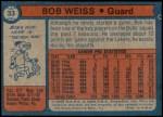 1974 Topps #33  Bob Weiss  Back Thumbnail