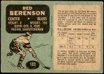 1970 O-Pee-Chee #103  Red Berenson  Back Thumbnail
