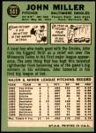 1967 Topps #141  John Miller  Back Thumbnail