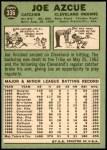 1967 Topps #336  Joe Azcue  Back Thumbnail