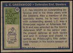 1972 Topps #101  L.C. Greenwood  Back Thumbnail