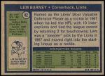1972 Topps #42  Lem Barney  Back Thumbnail