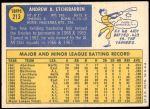 1970 Topps #213  Andy Etchebarren  Back Thumbnail