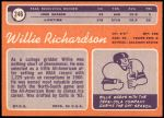 1970 Topps #246  Willie Richardson  Back Thumbnail