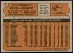 1972 Topps #313  Luis Aparicio  Back Thumbnail