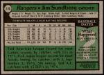 1979 Topps #120  Jim Sundberg  Back Thumbnail