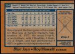1978 Topps #394  Roy Howell  Back Thumbnail