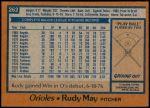 1978 Topps #262  Rudy May  Back Thumbnail