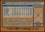1978 Topps #219  Mike Cubbage  Back Thumbnail