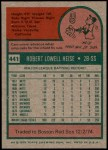 1975 Topps #441  Bob Heise  Back Thumbnail