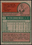 1975 Topps #14  Milt Wilcox  Back Thumbnail