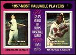 1975 Topps #195   -  Mickey Mantle / Hank Aaron 1957 MVPs Front Thumbnail
