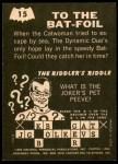 1966 Topps Batman - Riddler Back #15   To the Bat-Foil Back Thumbnail