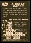 1966 Topps Batman - Riddler Back #36   Catly Caper Back Thumbnail