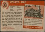 1954 Topps World on Wheels #33   Willy's Jeep Back Thumbnail