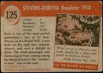1954 Topps World on Wheels #125   Stevens-Duryea Roadster 1910 Back Thumbnail