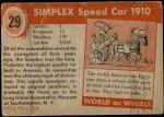 1954 Topps World on Wheels #29   Simplex Speed Car 1910 Back Thumbnail
