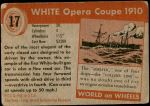 1954 Topps World on Wheels #17   White Opera Coupe 1910 Back Thumbnail