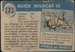 1954 Topps World on Wheels #173 BLU  Buick Wildcat III Back Thumbnail