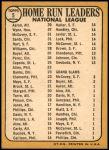 1968 Topps #5   -  Hank Aaron / Willie McCovey / Ron Santo / Jim Wynn NL HR Leaders Back Thumbnail