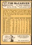 1968 Topps #275  Tim McCarver  Back Thumbnail