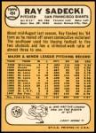 1968 Topps #494  Ray Sadecki  Back Thumbnail
