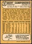 1968 Topps #109  Bert Campaneris  Back Thumbnail