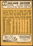 1968 Topps #25  Julian Javier  Back Thumbnail