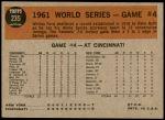 1962 Topps #235   -  Whitey Ford 1961 World Series - Game #4 - Ford Sets New Mark Back Thumbnail