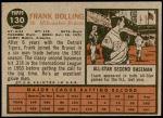 1962 Topps #130 NRM Frank Bolling  Back Thumbnail