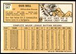 1963 Topps #547  Gus Bell  Back Thumbnail