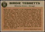 1962 Topps #588  Birdie Tebbetts  Back Thumbnail