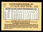 1985 Donruss #169  Cal Ripken Jr.  Back Thumbnail