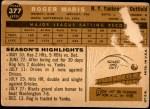 1960 Topps #377  Roger Maris  Back Thumbnail