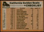 1975 Topps #82   Seals Team Checklist Back Thumbnail