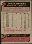 1977 Topps #170  Chris Hanburger  Back Thumbnail