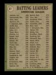 1971 Topps #61   -  Alex Johnson / Tony Oliva / Carl Yastrzemski AL Batting Leaders  Back Thumbnail