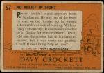 1956 Topps Davy Crockett Orange Back #57   -     No Relief in Sight  Back Thumbnail
