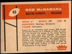 1960 Fleer #63  Bob McNamara  Back Thumbnail