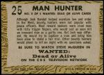 1958 Topps TV Westerns #25   Man Hunter  Back Thumbnail