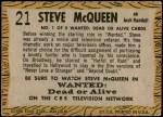 1958 Topps TV Westerns #21  Steve McQueen   Back Thumbnail