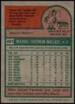 1975 Topps #401  Mike Wallace  Back Thumbnail