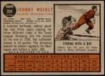 1962 Topps #204  Johnny Weekly  Back Thumbnail